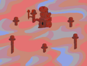 Red frog temple
