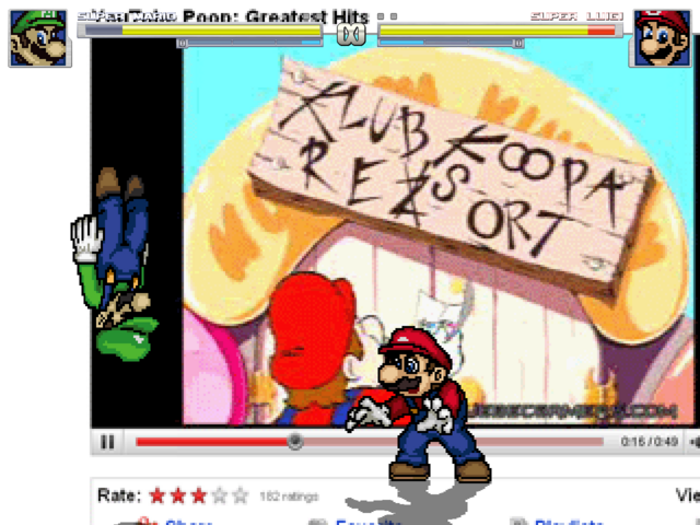 Mario and Luigi fighting inside Youtube (Stage)