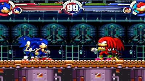 Sonic MH & Classic Sonic vs Knuckles MH & Classic Knuckles MUGEN Battle!!!