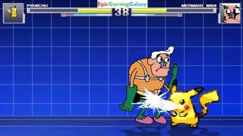 Mermaid Man VS Pikachu The Pokemon In A MUGEN Match Battle Fight