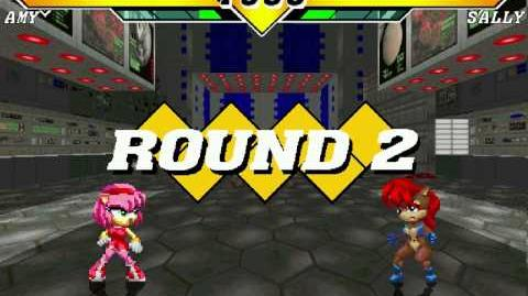 MUGEN Amy Rose (me) VS Bunnie,Sally, Scourge and Chaos(AI)