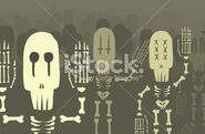 Stock-illustration-10979516-skeletons-in-afterlife-waving-hello-to-land-of-the-living