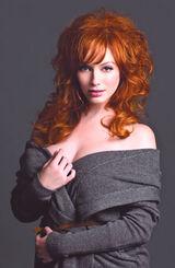 Page-six-christina-hendricks-clevage-ruffed-hair-sexy-towel-like-outfit