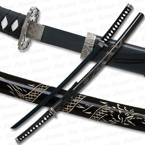 Dragon engraved katana sword black blade 540
