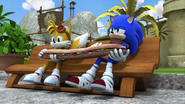 Sonic and Tails and a giant sandwich