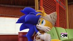Sonic hugging Tails