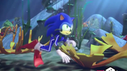Sonic is swimming