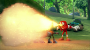 Knuckles' fire breath