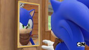 Sonic looks in the mirror