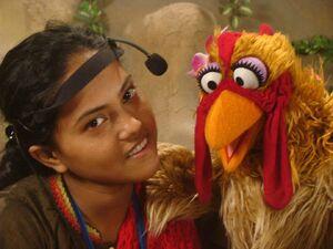 Parvin Paru and a chicken