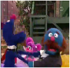 Grover and Fat Blue in drag