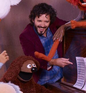 Bret Mackenzie in early The Muppets movie promo photo