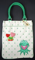 Kermit crossbones tote bag