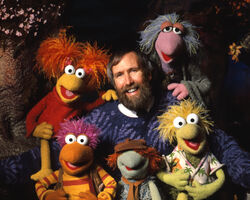 Jim Henson and Fraggles blue sweater