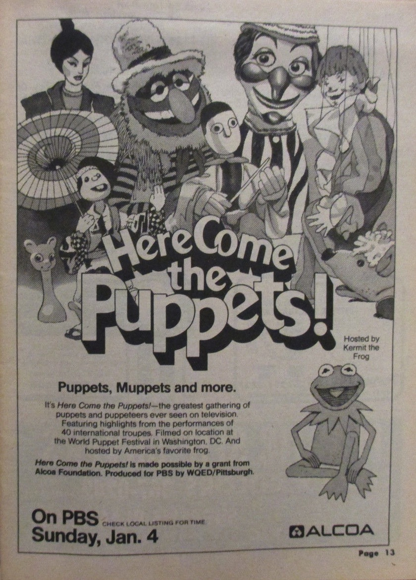 8d0020ffe Here Come the Puppets! is a special that was taped for PBS during the 1980  World Puppetry Festival. Co-hosted by Kermit the Frog and Jim Henson, ...