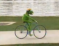 Kermit bike Muppets on Wheels