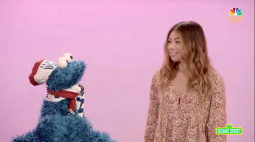 Hailey Langland and Cookie Monster