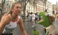 Reporter Kermit on Blue Peter, Zoe Salmon at Flora London Marathon 2006
