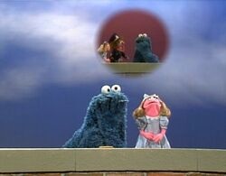 Classic sesame street cookie monster and prairie dawn
