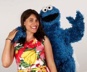 Sarah Rebar with Cookie Monster