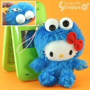 Strapya 2011 mascot hello kitty plush small cookie monster japan