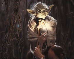 Frank Oz Yoda with light