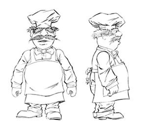 Chef figure sketch
