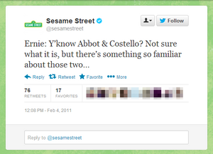 Ernie tweet Abbott and Costello