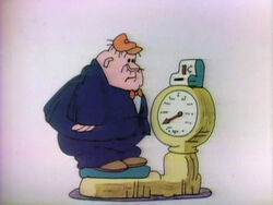 Cartoon man weighs scale
