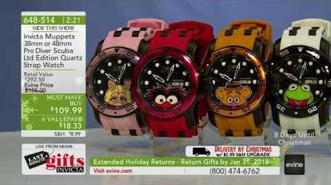 Invicta Muppets 38mm or 48mm Pro Diver Scuba Limited Edition Quartz Silicone Strap Watch