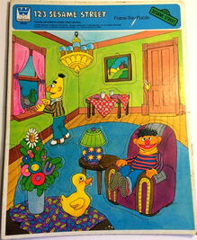 Whitman golden 1979 frame-tray puzzle 123 sesame street