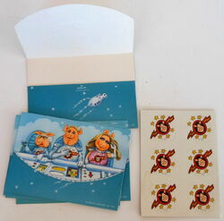 Hallmark 1981 pigs in space postalettes with stickers