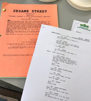 Sesame 50th special script pages