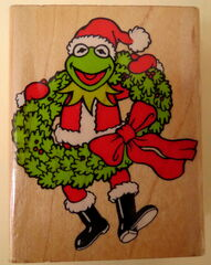 Inkadinkado rubber stamp kermit santa claus christmas