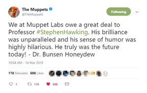The Muppets Twitter Stephen Hawking March 14 2018