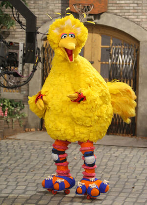Big Bird on roller skates