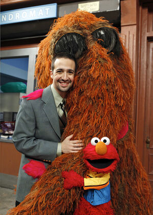 Lin-Manuel Miranda with Snuffy and Elmo