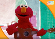 Elmo playing the ukulele