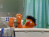 Ernie's feet Do De Rubber Duck