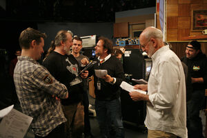 Matt Vogel, Tyler Bunch, Paul McGinnis, Joey Mazzarino, Frank Oz, and John Kennedy on Mad Men Sesame Street Set