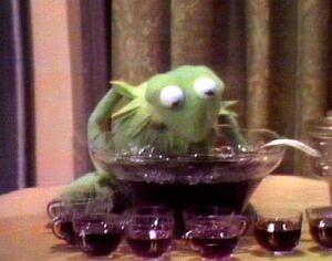 Kermit drinking