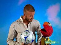 Backstage with Elmo - David Beckham