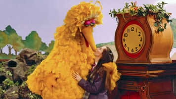 Debi kiss Big Bird Mr Rogers set