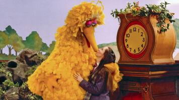 Debi kiss Big Bird Mr Rogers set