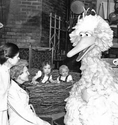 Pat Nixon on Sesame Street set