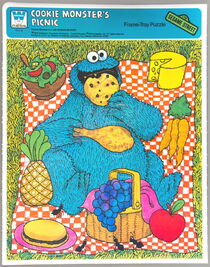 Whitman 1979 frame-tray puzzle cookie monster's picnic