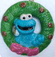 Cookie monster newcor 1988 christmas ornament wreath set 1