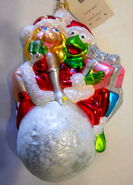 Christopher radko 1998 snowball miss piggy and kermit christmas ornament