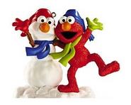 CarltonCardsHeirloom-2012-SesameStreet-Elmo&GlitterSnowman-ChristmasOrnament