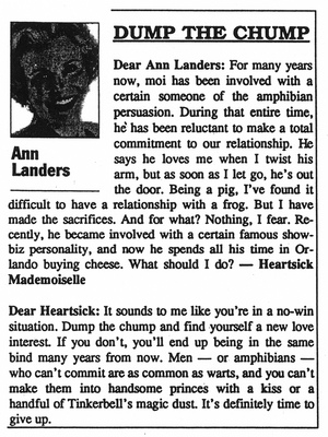 Ann Landers Dump the Chump